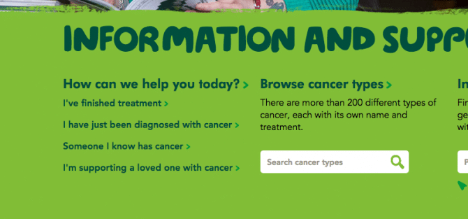 Screenshot of Macmillan Cancer site