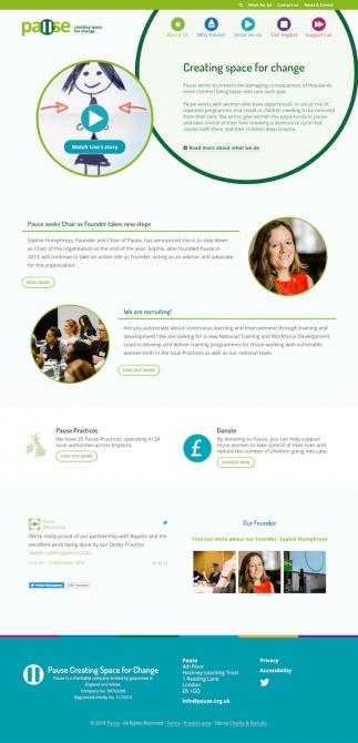 Pause charity website screenshot
